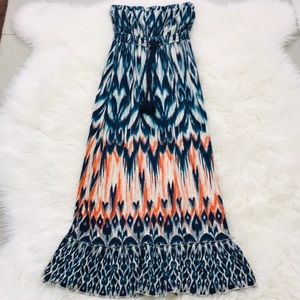 a.n.a. turquoise blue orange maxi dress boho